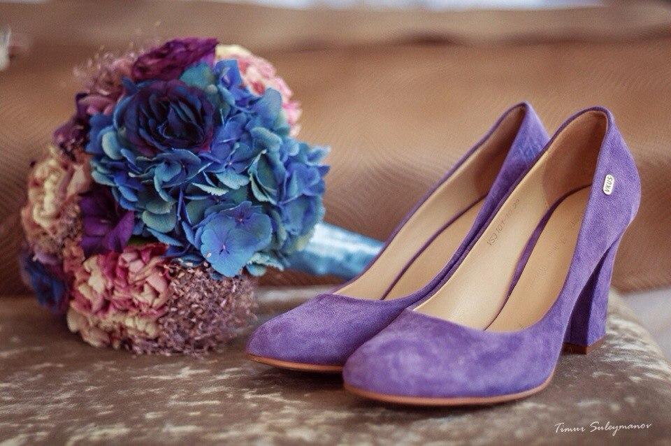 Свадебные туфли фиолетовые