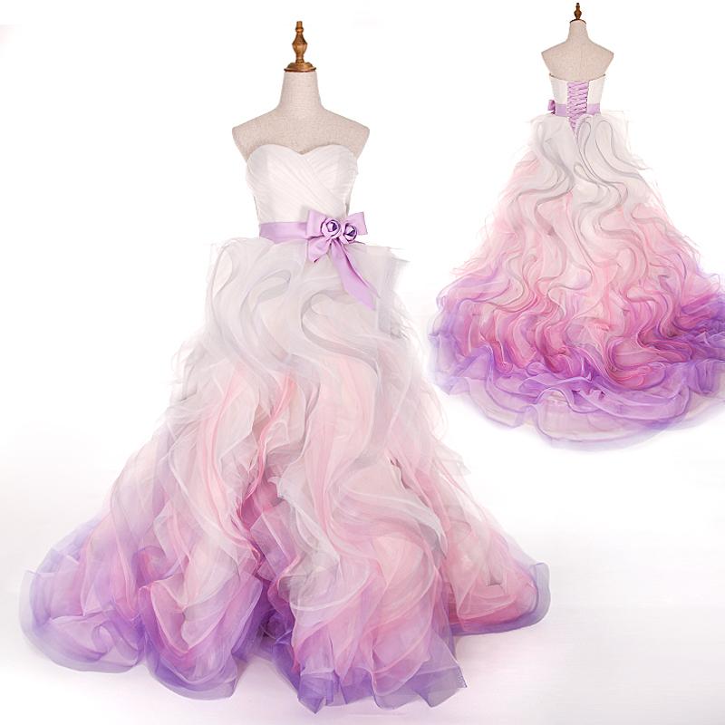 Свадебное платье с фиолетовым градиентом