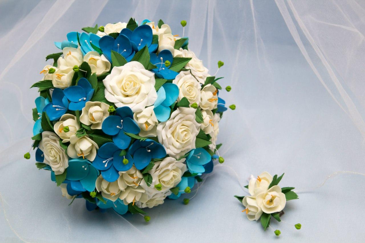 Свадьбный букет в бирюзовом цвете