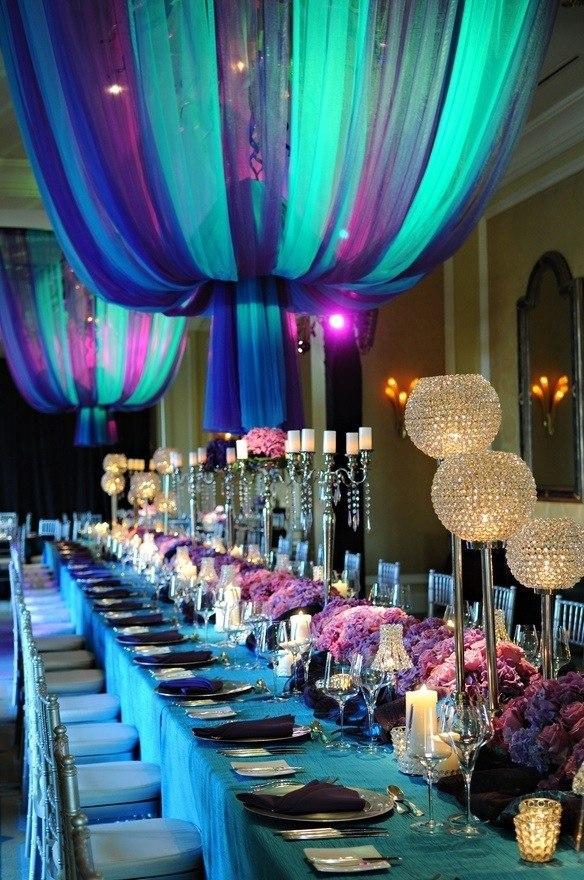 Фиолетово-бирюзовая свадьба